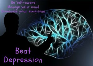 Person pointing mind, beat depression